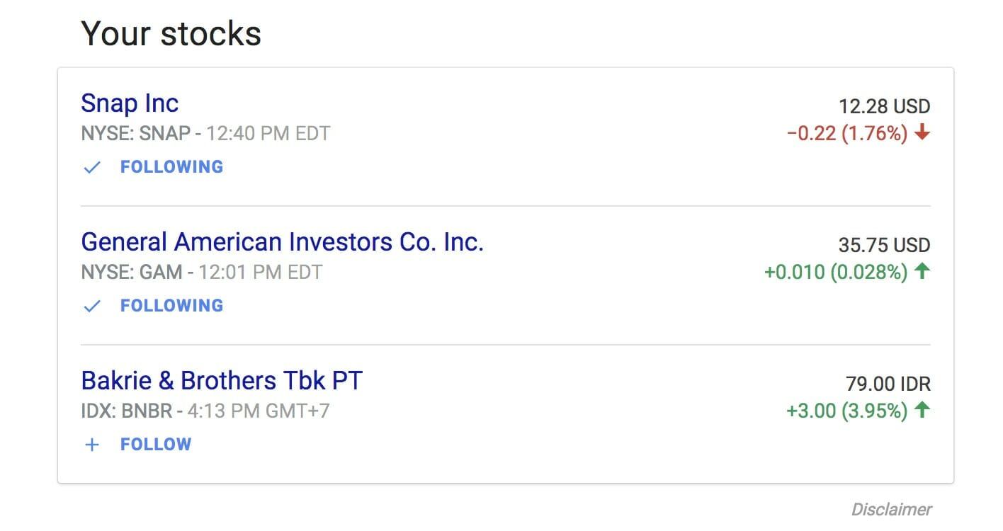 Your stocks in Google Finance, including their latest price update