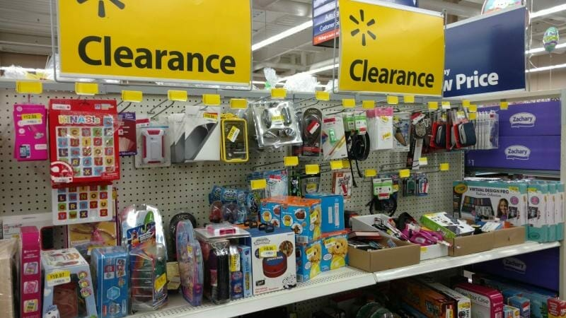 Items on clearance at Walmart.