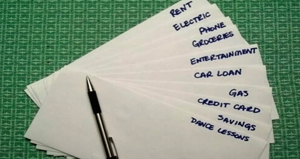envelopes with different categories