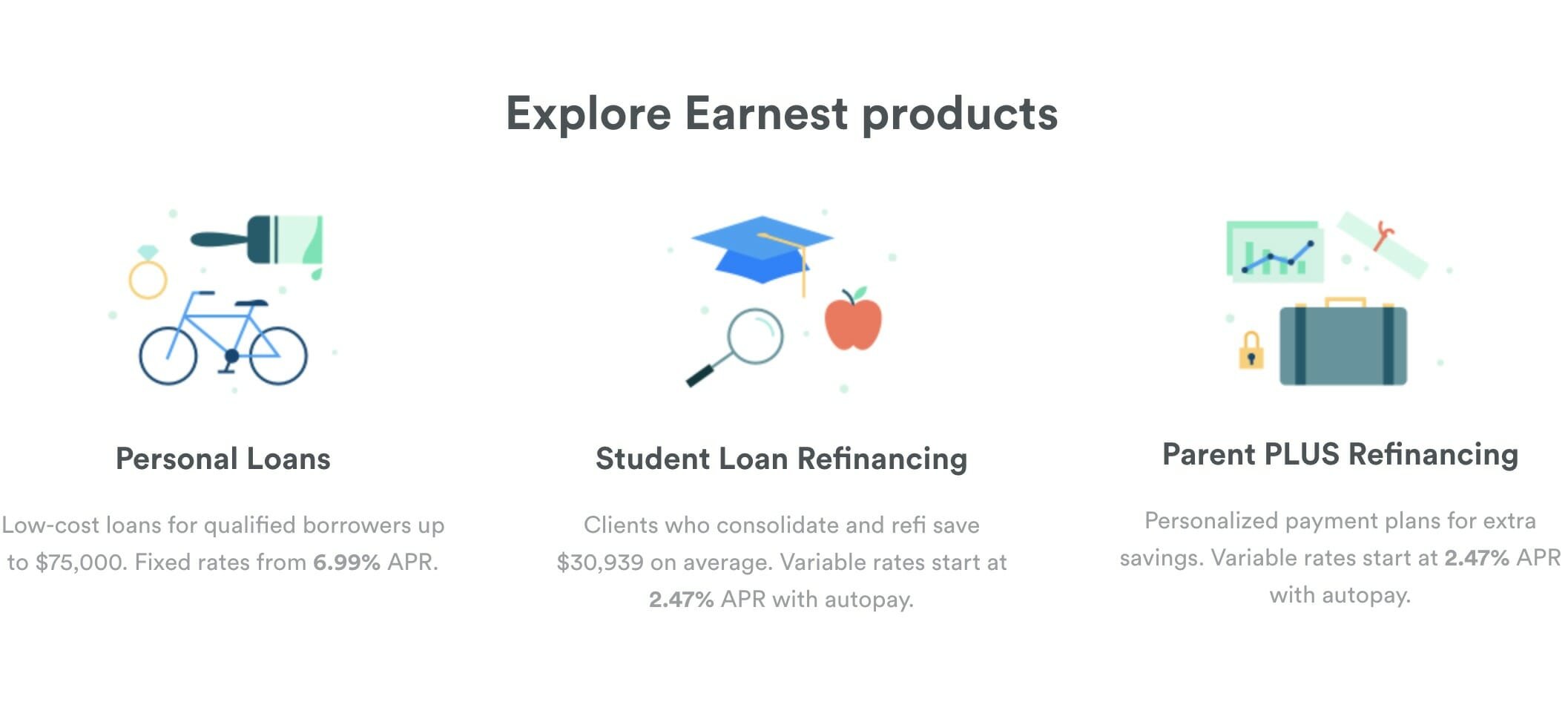 Explore Earnest products: Personal Loans, Student Loan Refinancing, Parent PLUS Refinancing