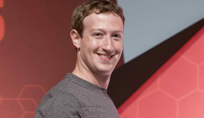 Mark Zuckerberg, looking happy