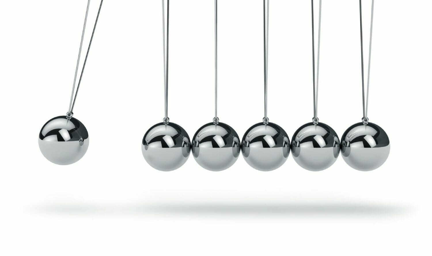 Newton's cradle, with the first ball swinging