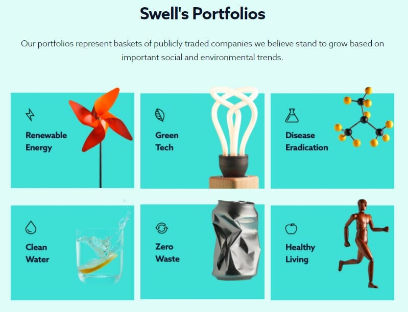 Swell Investing's categories of ethical portfolios