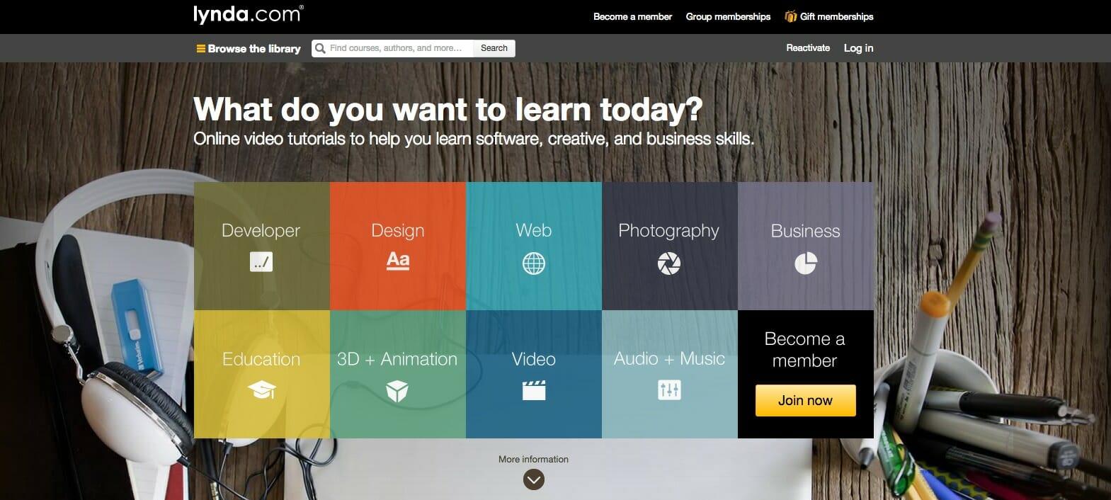 lynda.com website with various video tutorials