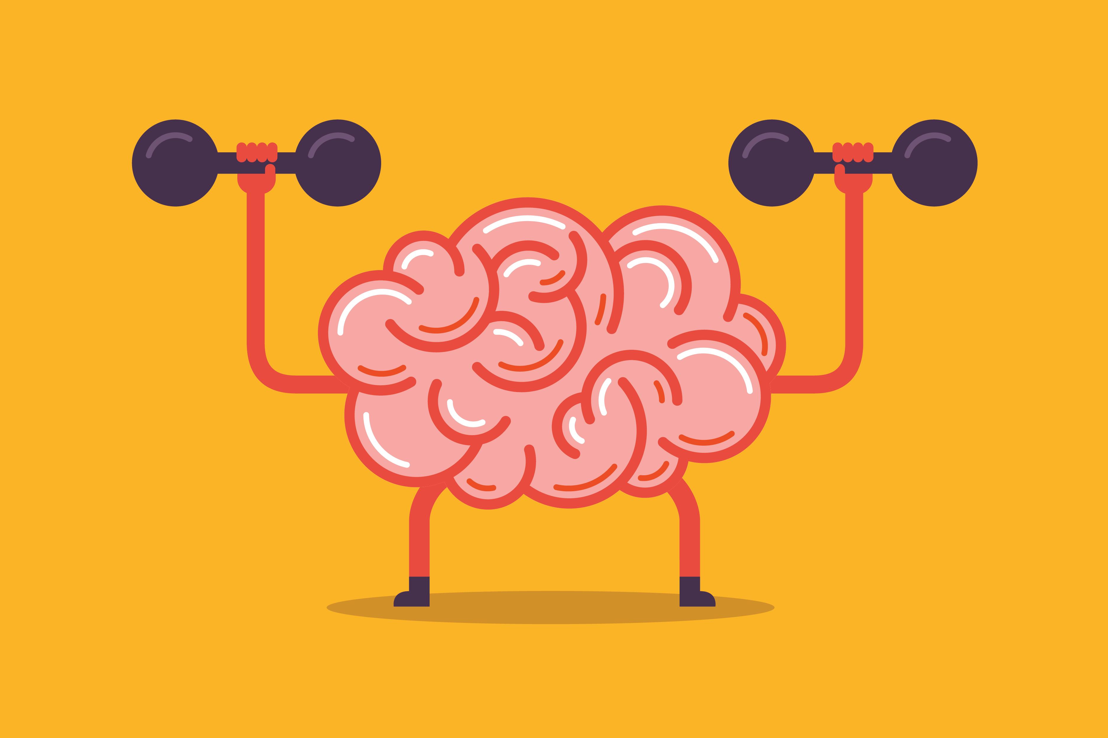 A cartoon brain lifting weights.