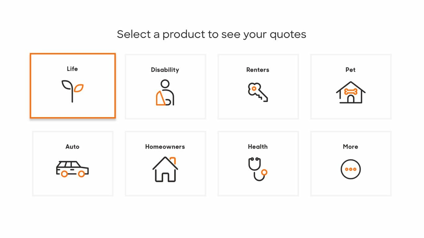 Policy Genius asking you to select from a list of projects to see quotes for you.