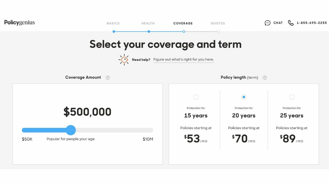 PolicyGenius asking you to select your coverage and term.