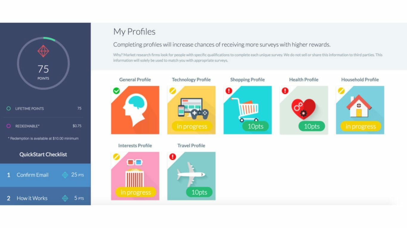 Survey Junkie profiles to help you get different types of surveys