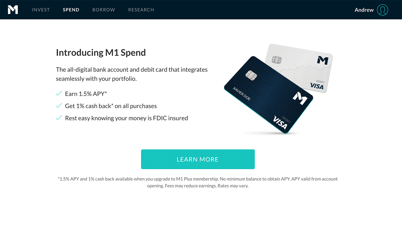 M1 Spend all-digital bank account and debit card