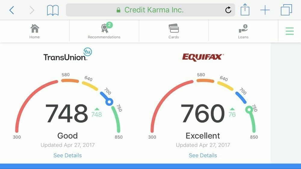 Credit Karma showing credit scores from TransUnion and Equifax.