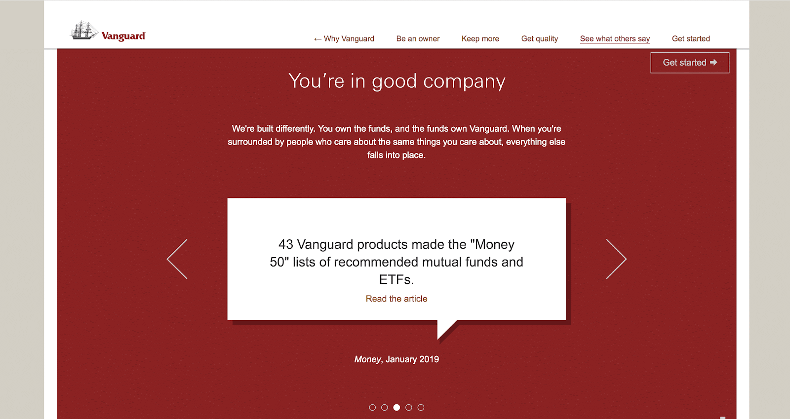 vanguard quote about how great their products are