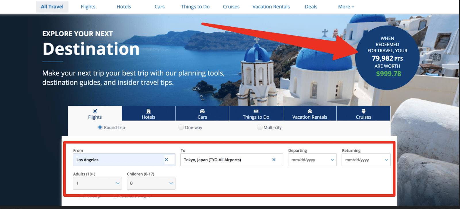 booking airfare through their portal
