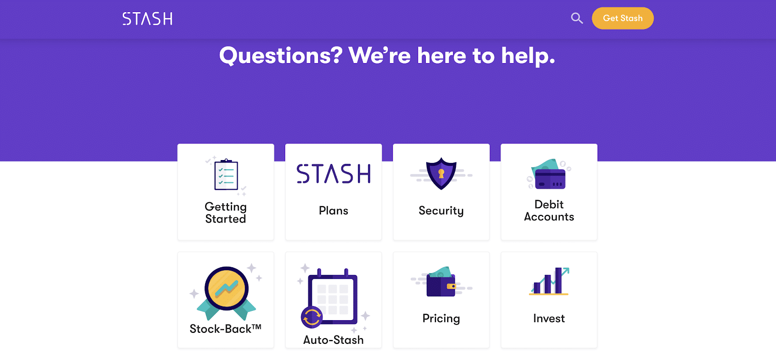 stash invest faq page to help