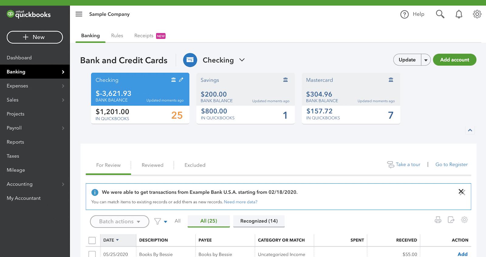 quickbooks banking feature
