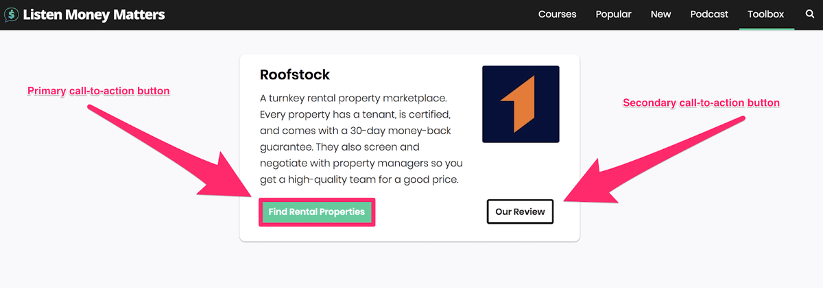 lasso roofstock example with two different cta buttons
