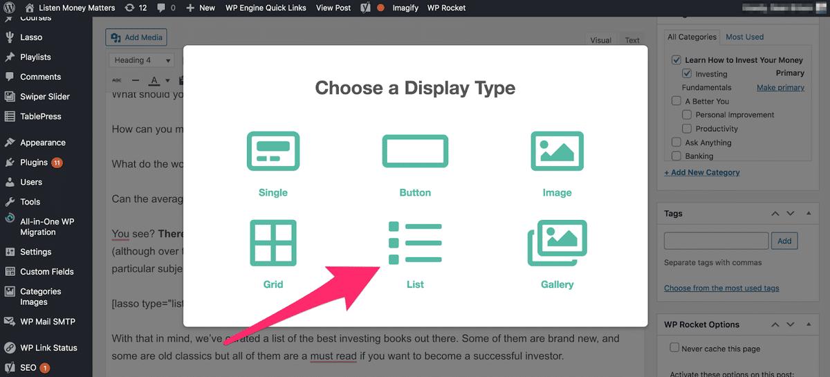 choosing list display to display a numbered list in lasso