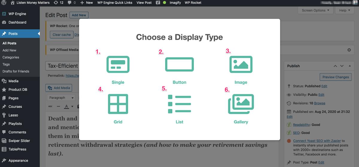 the six lasso display options