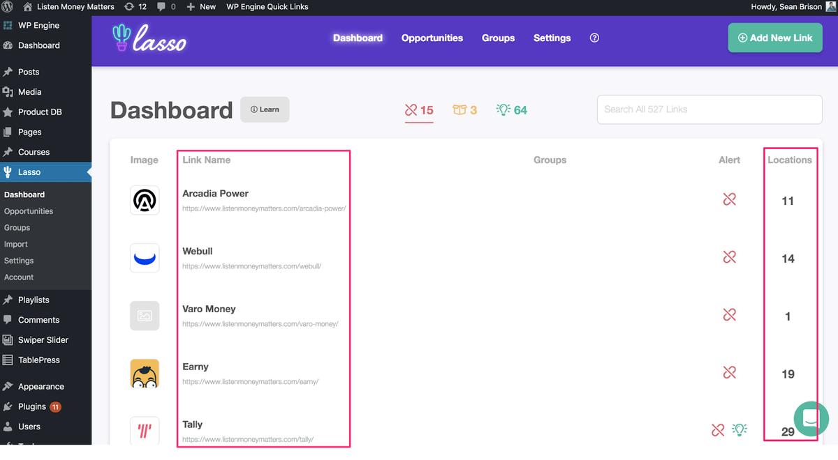 lasso wordpress plugin dashboard highlighting link name and location