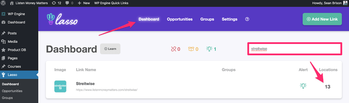 lasso dashboard and locations for finding specific affiliate urls