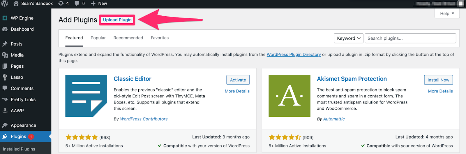 uploading aawp plugin inside wordpress
