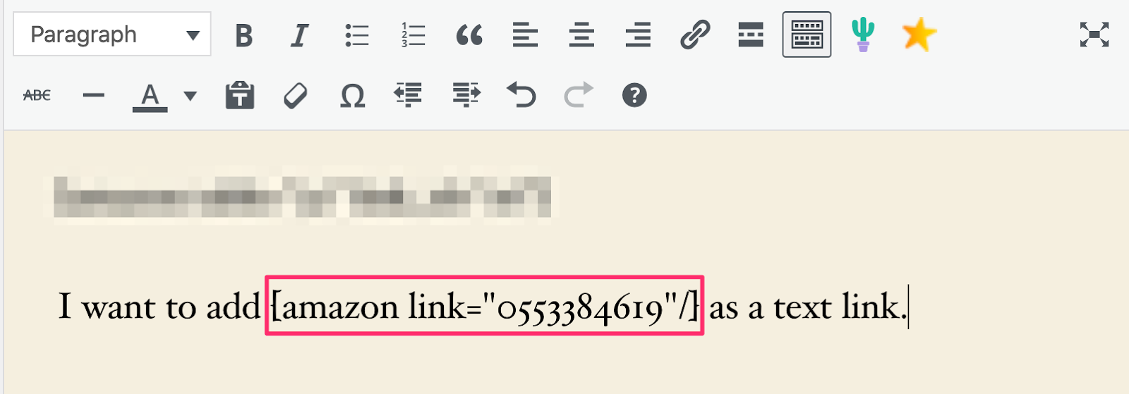adding text links using aawp shortcode