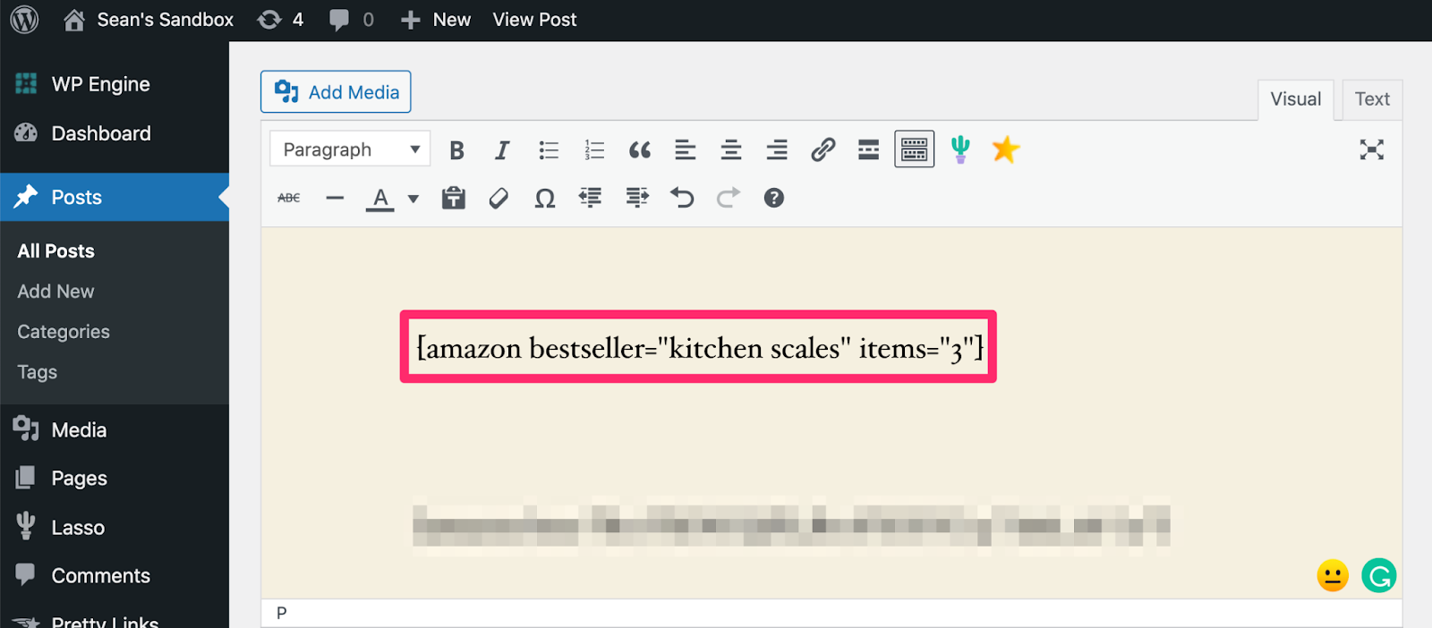 using bestseller list shortcode in your wordpress draft