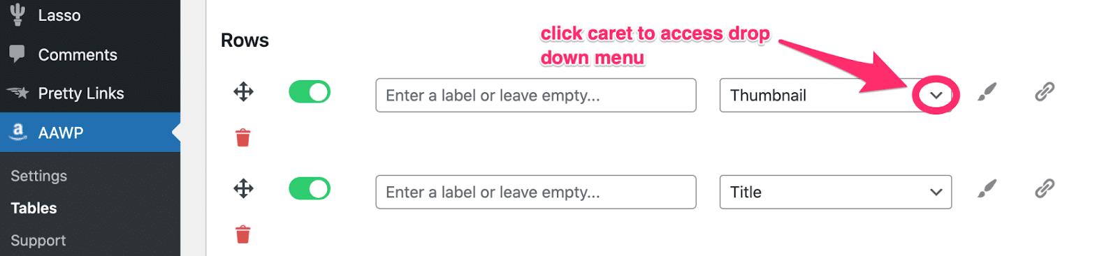 accessing dropdown menu