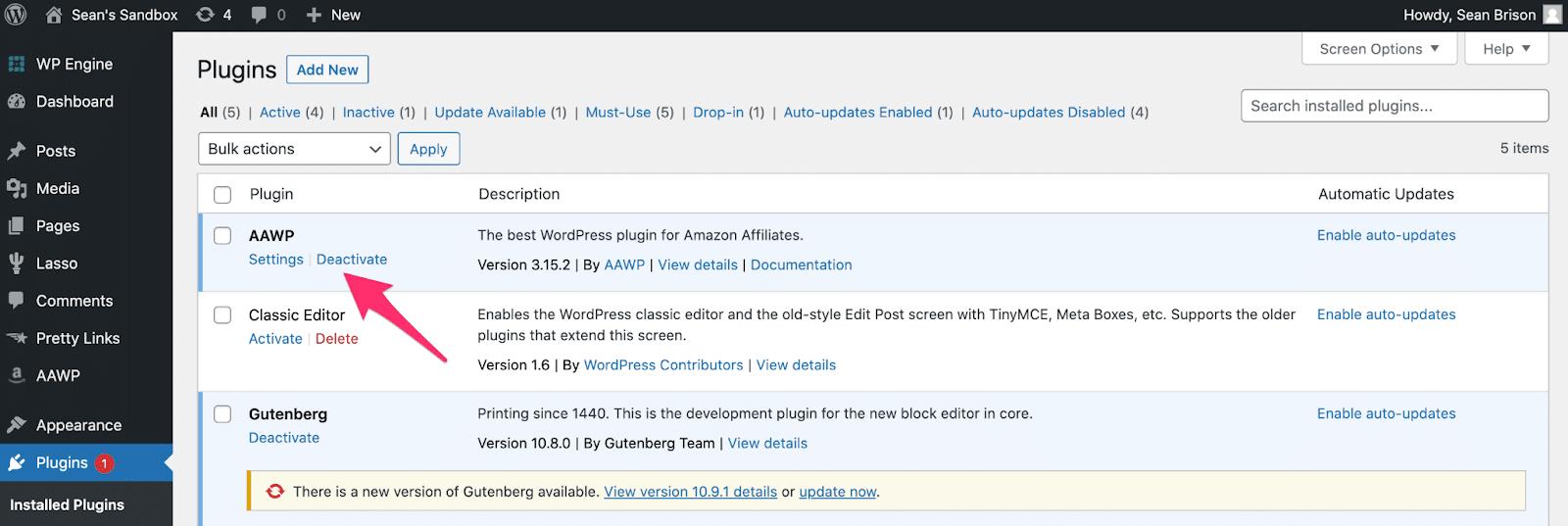 activating aawp plugin inside wordpress