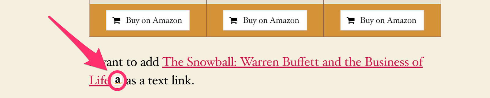 how amazon icon shortcode displays to readers