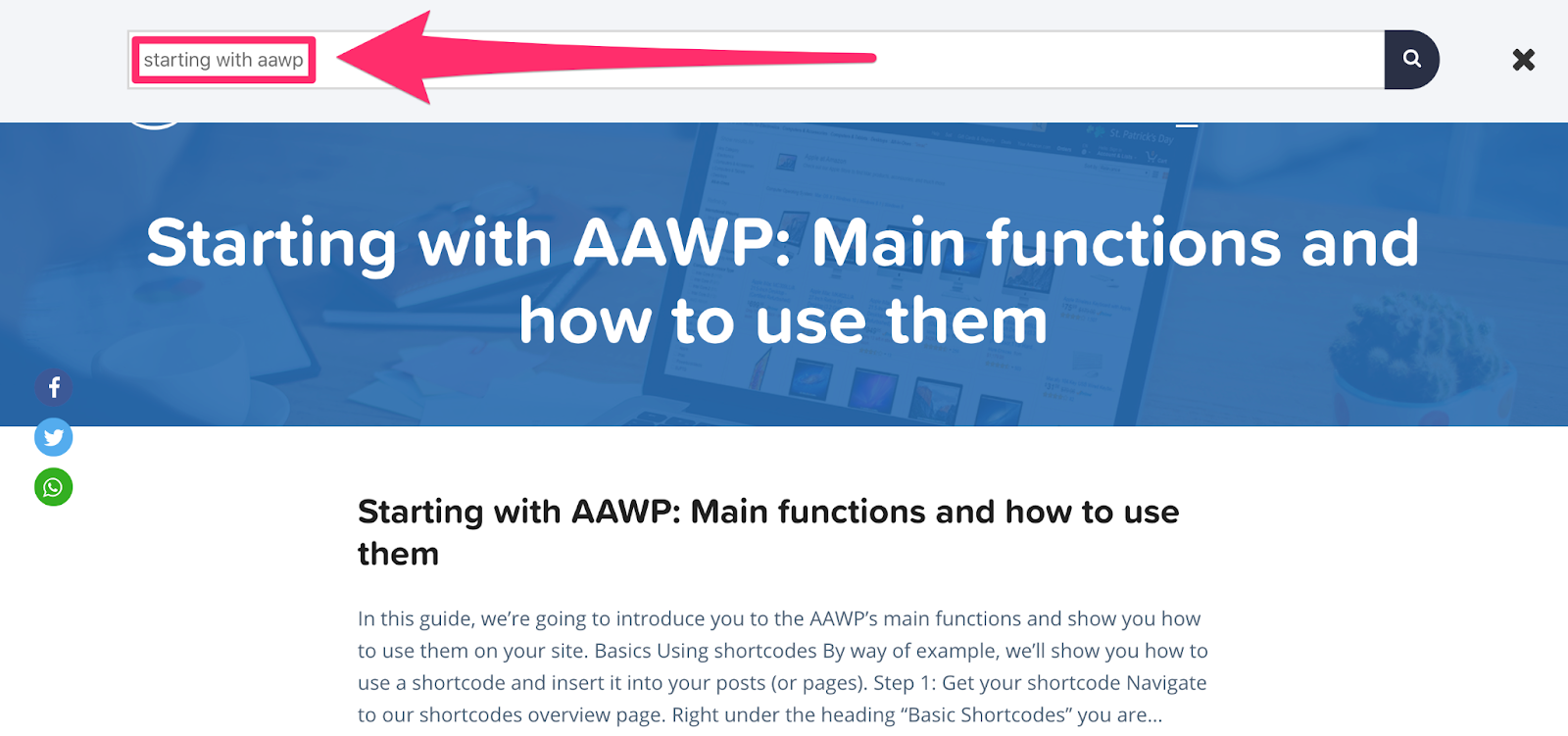 aawp search function on website for finding help docs
